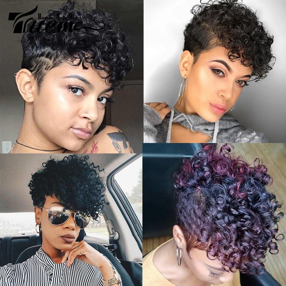 Trueme Fashion Piexie Cut Fumi Curly Human Hair Wigs Brazilian Curly Remy Hair Short Wig For Black Women Full Machine Wig